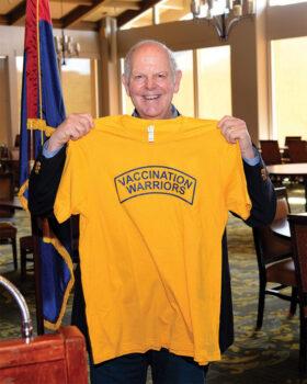 Congressman O'Halleran proudly displays his vaccination shirt from Senior Village