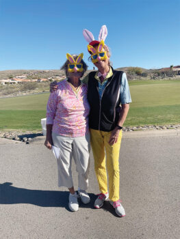 These bunnies are past president, Edie Crall, and president, Kat Danner.